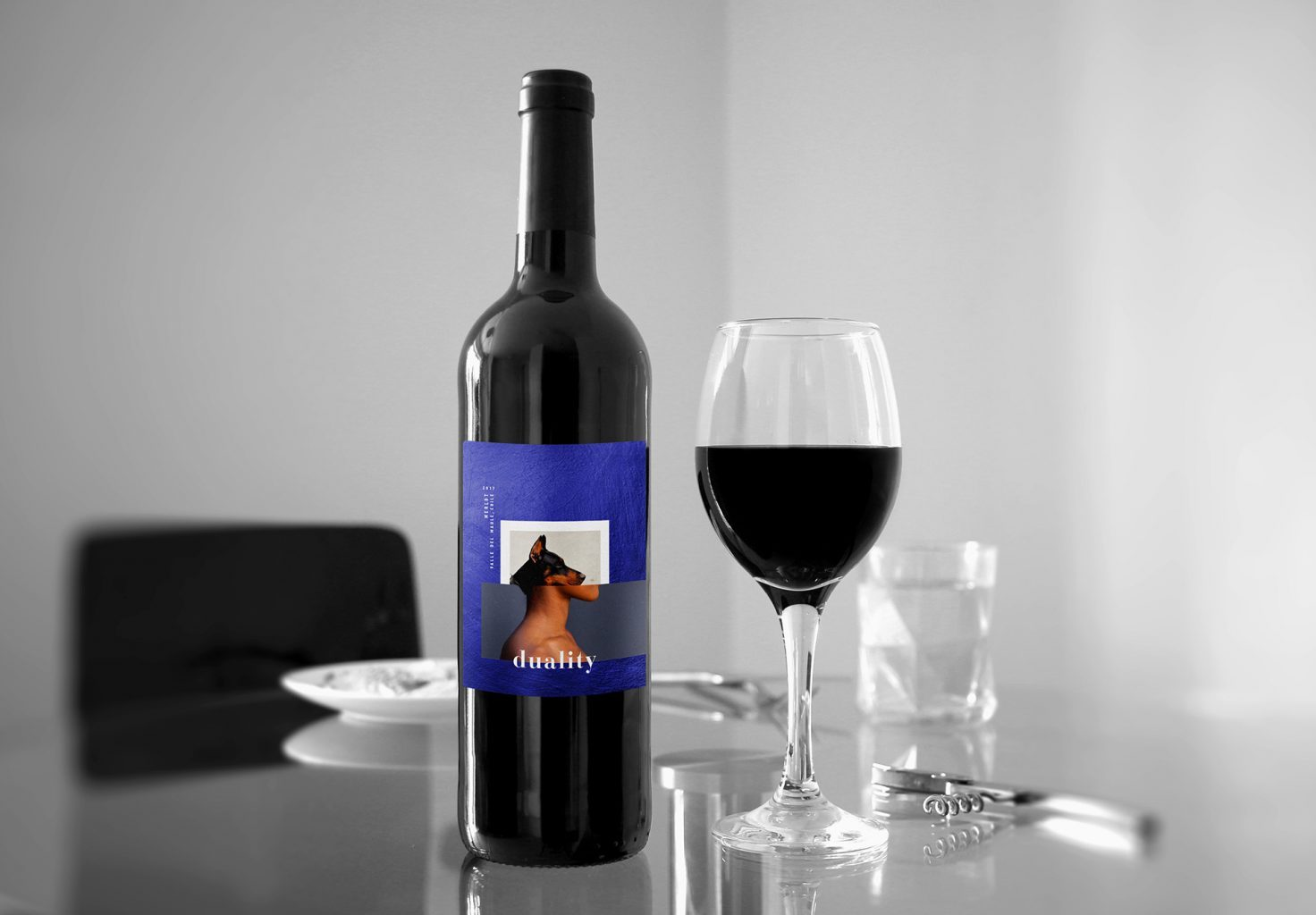 Red wine Duality label design